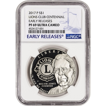 2017-P US Lions Club Commemorative Proof Silver Dollar - NGC PF69 Early Releases
