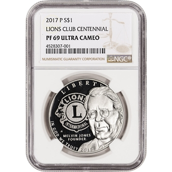 2017-P US Lions Club Commemorative Proof Silver Dollar - NGC PF69 UCAM