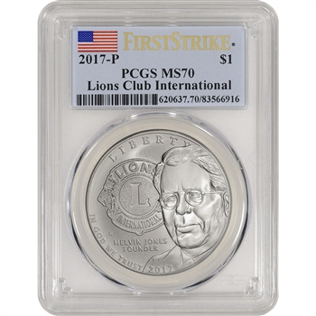2017-P US Lions Club Commemorative BU Silver Dollar - PCGS MS70 - First Strike