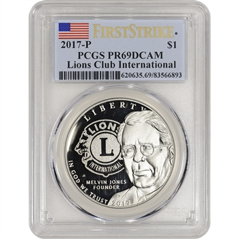2017-P US Lions Club Commemorative Proof Silver Dollar - PCGS PR69 First Strike