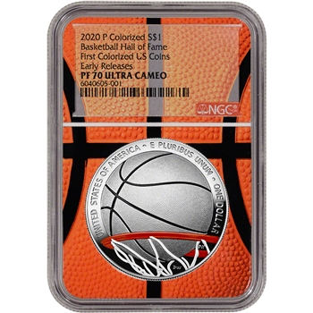 2020-P US Basketball Commem Proof Colorized Silver $1 NGC PF70 Early Releases