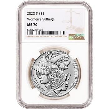 2020 P US Women's Suffrage Commemorative BU Silver Dollar - NGC MS70