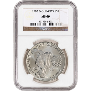 1983-D US Olympic Commemorative BU Silver Dollar - NGC MS69