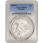 1983-D US Olympic Commemorative BU Silver Dollar - PCGS MS69