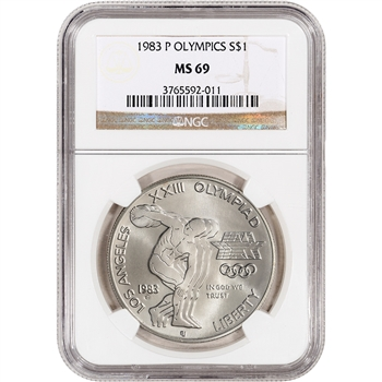 1983-P US Olympic Commemorative BU Silver Dollar - NGC MS69