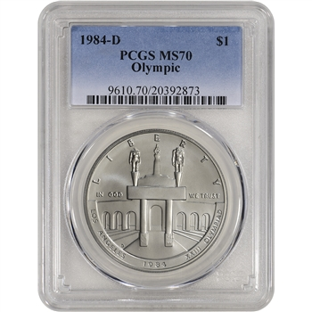 1984-D US Olympic Commemorative BU Silver Dollar - PCGS MS70