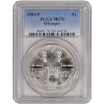 1984-P US Olympic Commemorative BU Silver Dollar - PCGS MS70