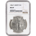1986-P US Statue of Liberty Commemorative BU Silver Dollar - NGC MS69
