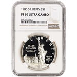 1986-S US Statue of Liberty Commemorative Proof Silver Dollar - NGC PF70 UCAM