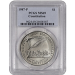 1987-P US Constitution Commemorative BU Silver Dollar - PCGS MS69
