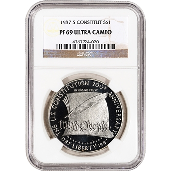 1987-S US Constitution Commemorative Proof Silver Dollar - NGC PF69UCAM