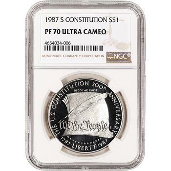 1987-S US Constitution Commemorative Proof Silver Dollar - NGC PF70 UCAM