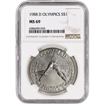1988-D US Olympic Commemorative BU Silver Dollar - NGC MS69