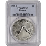1988-D US Olympic Commemorative BU Silver Dollar - PCGS MS69