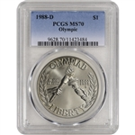 1988-D US Olympic Commemorative BU Silver Dollar - PCGS MS70