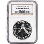 1988-S US Olympic Commemorative Proof Silver Dollar - NGC PF69 UCAM