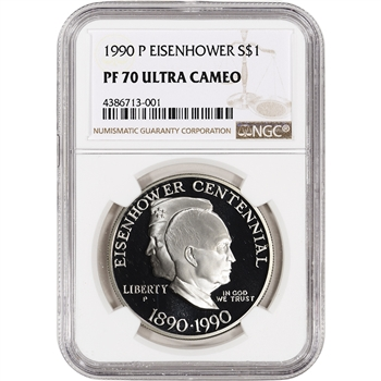 1990-P US Eisenhower Commemorative Proof Silver Dollar - NGC PF70 UCAM