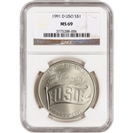 1991-D US USO 50th Anniversary Commemorative BU Silver Dollar - NGC MS69