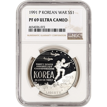 1991-P US Korean War Commemorative Proof Silver Dollar - NGC PF69 UCAM