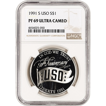 1991-S US USO 50th Anniversary Commemorative Proof Silver Dollar NGC PF69 UCAM