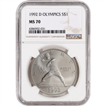 1992-D US Olympic Commemorative BU Silver Dollar - NGC MS70