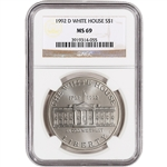 1992-D US White House Commemorative BU Silver Dollar - NGC MS69