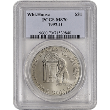 1992-D US White House Commemorative BU Silver Dollar - PCGS MS70