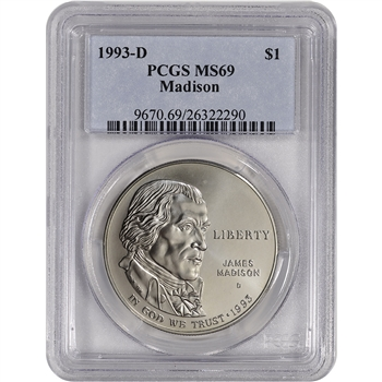 1993-D US Bill of Rights Commemorative BU Silver Dollar - PCGS MS69