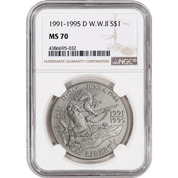 1993-D US World War II Commemorative BU Silver Dollar $1 - NGC MS70