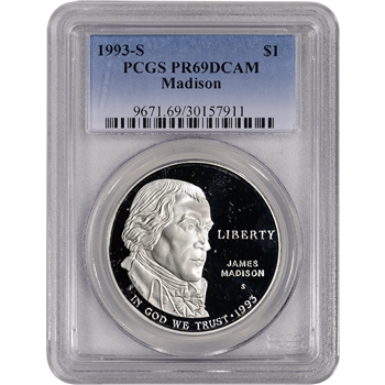 1993-S US Bill of Rights Commemorative Proof Silver Dollar - PCGS PR69DCAM