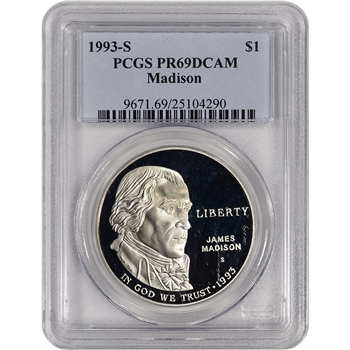 1993-S US Bill of Rights Commemorative Proof Silver Dollar - PCGS PR69 DCAM