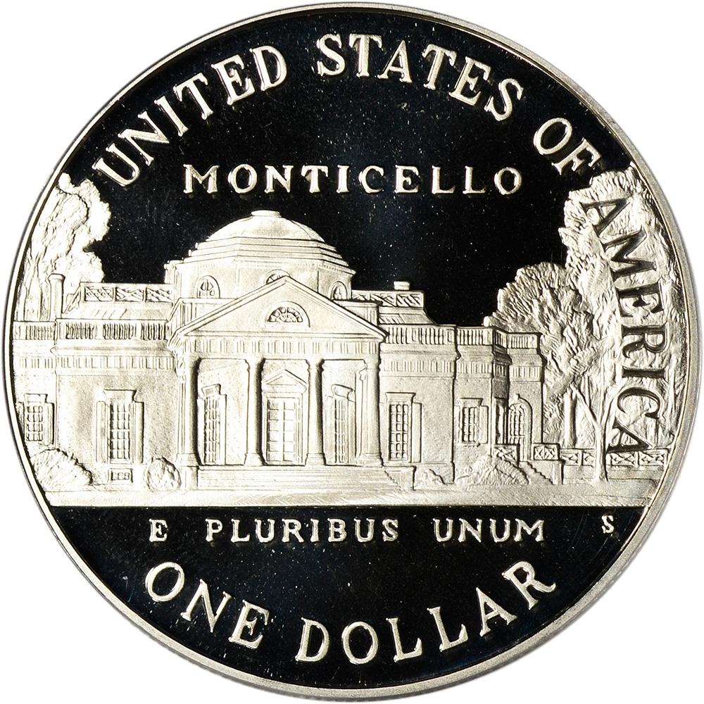 1993-S Jefferson Silver Commemorative Dollar PR70DCAM PCGS Proof 70 Deep Cameo