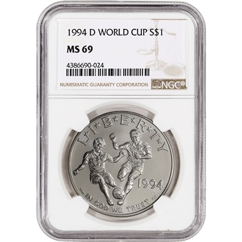 1994-D US World Cup Commemorative BU Silver Dollar - NGC MS69