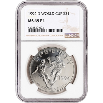 1994-D US World Cup Commemorative BU Silver Dollar - NGC MS69 PL