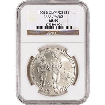 1995-D US Atlanta Olympic - Blind Runner Commem BU Silver Dollar - NGC MS69