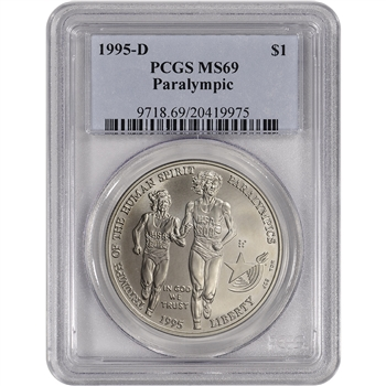 1995-D US Atlanta Olympic - Blind Runner Commem BU Silver Dollar - PCGS MS69