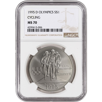1995-D US Atlanta Olympic - Cycling - Commemorative BU Silver Dollar - NGC MS70