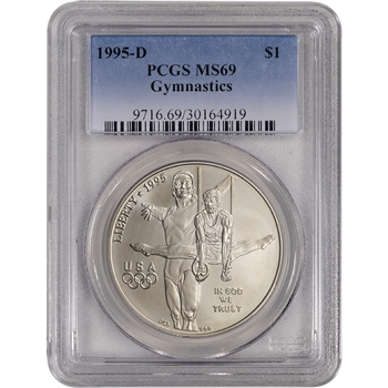 1995-D US Atlanta Olympic - Gymnast - Commemorative BU Silver Dollar - PCGS MS69