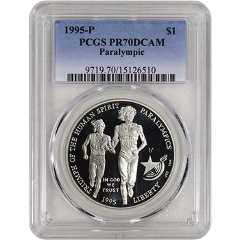 1995-P US Atlanta Olympic - Blind Runner Commem BU Silver Dollar - PCGS PR70