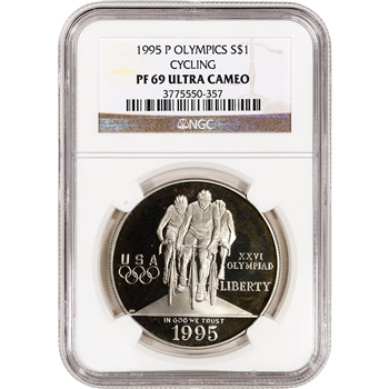 1995-P US Atlanta Olympic - Cycling - Commem Proof Silver Dollar - NGC PF69UCAM