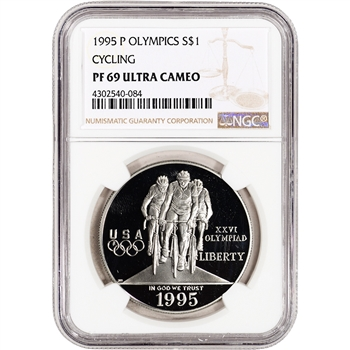 1995-P US Atlanta Olympic - Cycling - Commem Proof Silver Dollar - NGC PF69 UCAM