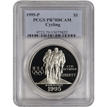 1995-P US Atlanta Olympic - Cycling - Commem Proof Silver Dollar - PCGS PR70
