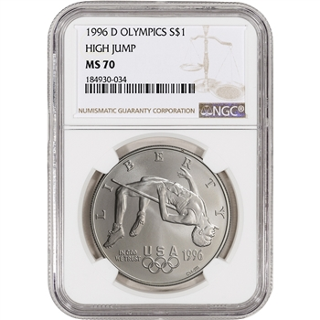 1996-D US Atlanta Olympic - High Jump Commem BU Silver Dollar - NGC MS70