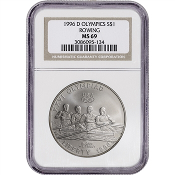 1996-D US Atlanta Olympic - Rowing Commemorative BU Silver Dollar - NGC MS69