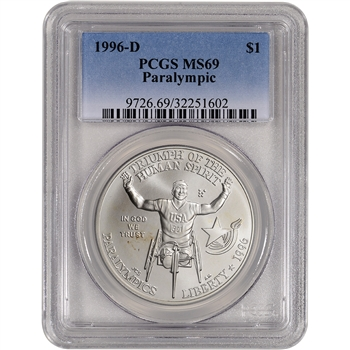 1996-D US Atlanta Olympic Wheelchair Athlete Commem BU Silver $1- PCGS MS69