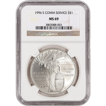 1996-S US National Community Service Commemorative BU Silver Dollar - NGC MS69