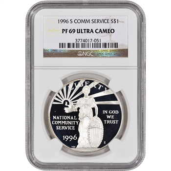 1996-S US National Community Service Commem Proof Silver Dollar - NGC PF69UCAM
