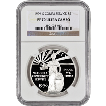 1996-S US National Community Service Commem Proof Silver Dollar - NGC PF70 UCAM