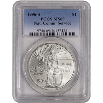 1996-S US National Community Service Commemorative BU Silver Dollar - PCGS MS69