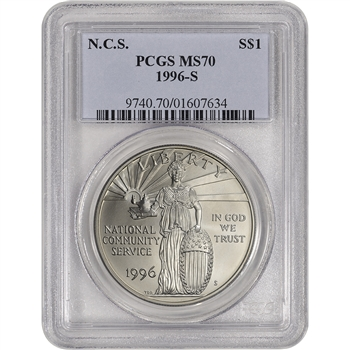 1996-S US National Community Service Commemorative BU Silver Dollar - PCGS MS70